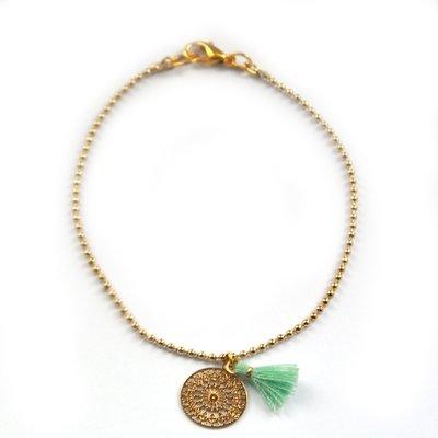 Gold boho tassel turquoise