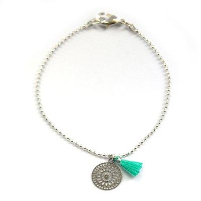 Silver boho tassel turquoise