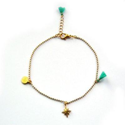 Enkelbandje goud turquoise