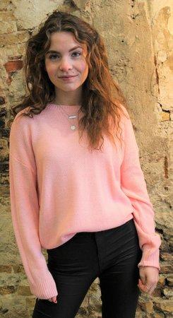 licht roze trui