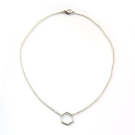 Ketting hexagon zilver (M)