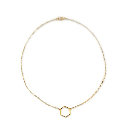 Ketting hexagon goud (M)