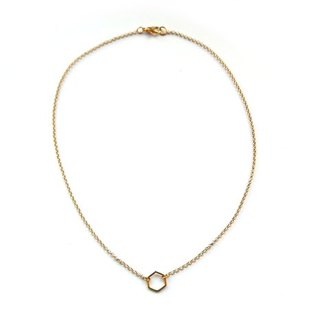 Ketting hexagon goud (S)