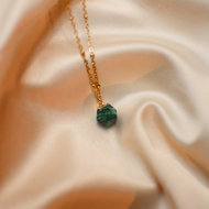 Jade necklace ♡ hexahedron emerald stone gold