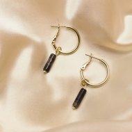 Ela earrings ♡ natural stone auburn gold