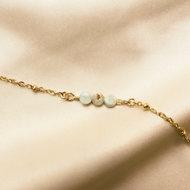 Nora bracelet ♡ natural stone honeydew facets gold
