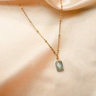Laura necklace ♡ natural stone green gold