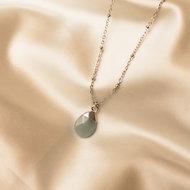 Lynn necklace 🌢 ocean green stone silver