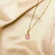 Lynn necklace 🌢 pink stone gold