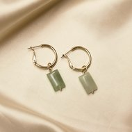 Ruby earrings ♡ natural stone green gold
