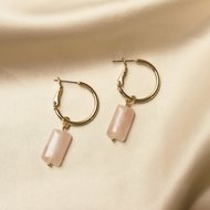 Ruby earrings ♡ natural stone pink gold