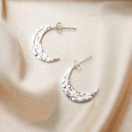 Elara studs ☽ hammered crescent moon silver