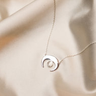 Ariel necklace ☽ young moon moonstone silver