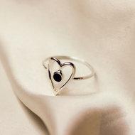 Venus ring ♥ heart onyx silver