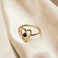 Venus ring ♥ heart onyx gold