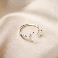 Estée ring ☆☽ moon & star silver