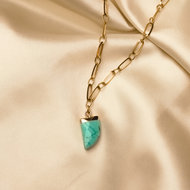 Juniper necklace ♥ turkoois stone shackle  gold