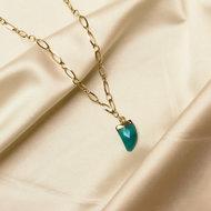 Juniper necklace ♥ emerald stone shackle gold