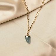 Juniper necklace ♥ ocean green stone shackle gold
