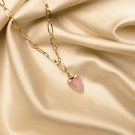 Juniper necklace ♥ pink stone shackle gold