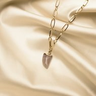 Juniper necklace ♥ taupe stone shackle gold